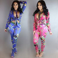 Wholesale Big Size Slim spring New women clothes floral prints two piece sets pants sexy Design party clothes for beauty women