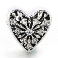 al por mayor joyería de calado-Auténtico 925 Sterling Silver Bead encanto Corazón a cielo abierto de invierno con cuentas de cristal Fit Mujer Pandora pulsera brazalete Diy Joyería HK3699