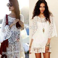 bell tassels - 2016 Vintage Hippie Boho Bell Sleeves Gypsy Festival Fringe Sexy Lace Mini Dress Tops Women Summer Tassel White Clothing