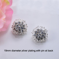 Wholesale J0677 mm rhinestone metal brooch with pin at back silver plating ball shape