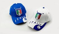 Wholesale 23 teams can choose for italy caps blue white football badge caps Adjustable Cotton Shower caps hat