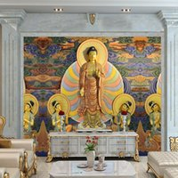 asia tourism - D Stereo Custom HD Temple Buddhist Culture Tourism Decorative Painting TV Backdrop Lobby Wallpaper Mural