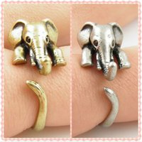 adjustable ring bands - Vintage lovely Anti Silver Gold Color Adjustable Elephant Wrap Rings for Women Party Gifts