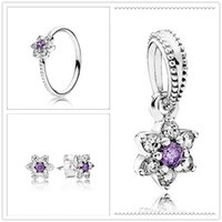 Wholesale 100 S925 Sterling Silver Charm Pendant Bead Ring Earrings Sets Fit European Pandora Style Jewelry Bracelets Necklaces Forget Me Not