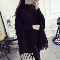 batwing jumper black - Fashion Autumn Winter Batwing Sweaters Poncho Turtleneck Women Tassel Pullover and Sweater Jumper Loose Oversized
