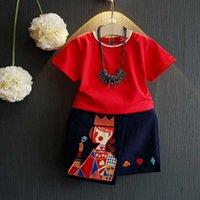 Precio de Faldas para las muchachas de los niños-Las camisetas rojas de la vendimia de las muchachas de Everweekend 2017 y las faldas asimétricas 2pcs fija los equipos occidentales del verano de los equipos de la manera