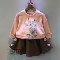 Wholesale Child set female child autumn owl o neck clothes t shirt wool short skirt casual twinset
