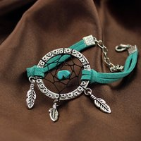 Wholesale dreamcatcher bracelet classical accessory for birthday gift with suede and turquoise hot selling girl accessory craft