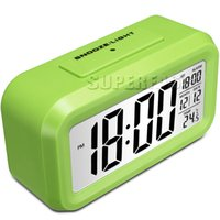 Wholesale Mini LED Desktop Alarm Clock LCD Digital Clock Non radiation Table Clock with Retail Package