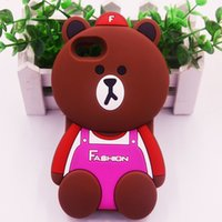bar bears - 3D Cartoon Bars Brown Bear cute soft silicone case for iphone plus plus mobile phone accessories J5 J7 J1