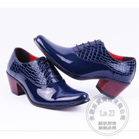 Chaussures plates talons France-Chaussures habillées pour hommes Oxford Shoes Prom Plain Japanned Leather 2016 Pure Color Gothic Gentleman Pu Alligator Pattern Puppy Heel