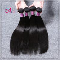Compra Teñidos haces de pelo de malasia-Extensiones humanas del pelo recto del color 4pcs / lot 1B de la armadura del pelo de Malasia 8