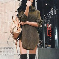 Vendita all'ingrosso 2016-shirt extrasize autunno sexy Solid maniche lunghe Donne maglia della tartaruga dal lato del collo suddiviso maglione Pullover Top LX226