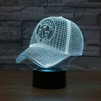 Wholesale 3D illusion lamp talbe lamp D LED light LED novelty nightlight USB LED bulbing light baseball cap