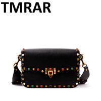 Wholesale New genuine leather rock color stud handbags women fashion color rivets shoulder bags easy matching for valentines M1928