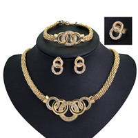 Wholesale Crystal Handcuffs Necklace Earring Bracelet Ring Set K Gold Plated Rhinestone Unique Eight Circle Cross Jewelry Sets