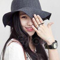 Wholesale Vintage Ladies Women Wide Brim Wool Felt Hat Floppy Bowler Fedora Cap