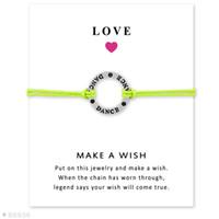 achat en gros de amitié réglable-(10 PC / lot) Bracelets en argent de bracelets de charme de danse pour les femmes Bijoux ajustables d'indication d'amitié de filles avec la carte