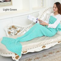 Wholesale Kids Adult Mermaid Tail Blankets Sleeping Bags Soft Warmer Blanket Cocoon Mattress Knit Sofa Bed Living Room Blankets Air condition Blanket