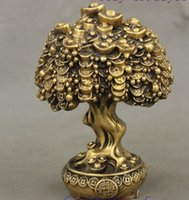 Metal antique tree light - Chinese FengShui Brass Auspicious Wealth YuanBao Treasure Bowl Money Tree Statue