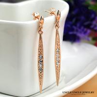 austrian crystal chandeliers - 18K Rose Gold Plated Austrian Rhinestone Willow Leaf Design Long Tassel Lady Drop Earrings