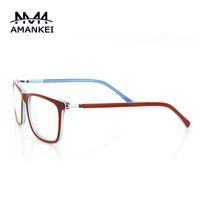 al por mayor lentes al por mayor en línea-Venta al por mayor- de moda rojo borde gafas claro lente marco mujeres ovalada cara gafas ópticas marco diseñador delgado en línea gafas Marcos para las mujeres