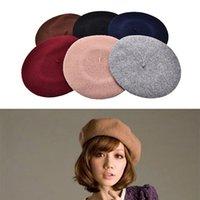 Vente en gros-Hot Sale Femmes Vintage Bérets Bébé Hat Laine Blend Pillbox Hat Beret Beanie Cadeaux 6 couleurs en gros 1pcs