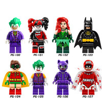 Wholesale Joker Batman Catwoman Robin Poison Ivy Calendar People Harley Quinn Assemble mini building blocks figuresToys PG8032