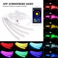 automotive led light strips - 4 IN Universal DC12V Car Atmosphere Lamp RGB LED Strip Lights Automotive Interior Decorative Lights With Android IOS Phone APP Control