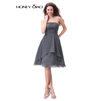 Wholesale Strapless Chiffon Short Prom Dresses Knee Length Country Party Gowns Bridesmaid Dresses Casual Robe De Soiree