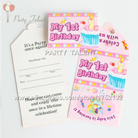 Wholesale baby girl theme party st birthday party decoration paper invitation card party supplies