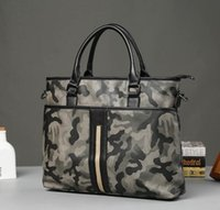 Wholesale brand bag handbag business casual men fashion pioneer camouflage printed leather handbag Metrosexual personality essential camouflage bag