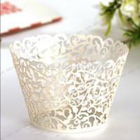 Wholesale Ivory beige Ivy Vine Cloud laser cut Lace cupcake wrapper cup cake wrap for wedding cake decoration
