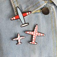 Men's airplane cartoons - set Fashion Aircraft Brooch Men Metal Brooches Cute Cartoon Airplane Plane Jacket Collar Lapel Pins Badge Jewelry Gifts