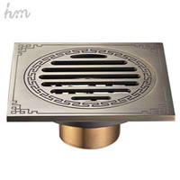 Wholesale hm Waste Antique Floor Drain Brass Bathroom Accessory Euro Linear Shower Wire Strainer Carved Cover Drains Drain Strainers
