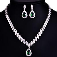 Vente chaude de haute qualité concepteur de mode en cuivre coloré zircon de luxe pendentif collier pendentif 2 pièces de bijoux de mariage set