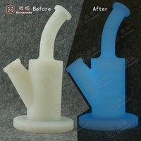 US Popular Dab Silicone bongs tuyaux d'eau en verre percolator plates-formes pétrolières miel peigne verre tuyaux d'eau couleur verte j01