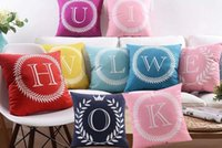 baby names grey - 26 English Letters Cushion Covers Color Home Love Baby Names Initials Alphabet Pillow Cover Sofa Throws Velvet Cushions Pillows Case Present