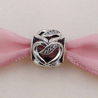 Charms European Beads Holidays, Seasonal Valentines Day 925 Silver Beads Ribbon Of Love Charm Fits European Pandora Style Jewelry Bracelets & Necklace 792046CZ Love heart Gifts