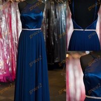 Wholesale Saudi Arabia Formal Evening Dresses with Halter Neck and Open Back Real Image Navy Blue Chiffon Arabic Prom Dress Long Bridesmaid Gown