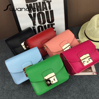 Wholesale 2016 High Quality Mini Flap Chain Crossbody Bags Chain Real Cowhide Genuine Leather Shoulder Messenger Bags Lock Small Fashion Simple Female