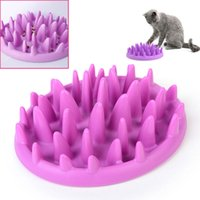 Wholesale 1piece Cat Interactive Slow Feeder Catch Bowl Non Slip Anti Gulping Kitten Food Dish Dog Pets Feed Toys cm Y0081