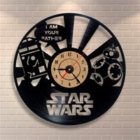 antique vinyl records - Creative Musical Note Vinyl record CD star wars theme D Acrylic Art Watch Antique Style Quartz Clock wall clock