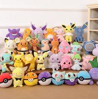 Wholesale 28 design Poke Plush Toys Pokmon Figure Dolls Pocket Monster Plush Toys Pikachu Charmander Bulbasaur stuffed toys cm KKA1347