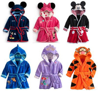 animal pajamas baby - Hug Me Children Cartoon bathrobe Minnie Mickey Mouse Coral fleece Kids Bathrobe robes Baby toweling robe Boy Girls Kids Pajamas EC so