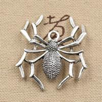 Wholesale Cents Charms spider halloween mm Antique Making pendant fit Vintage Tibetan Silver DIY bracelet necklace