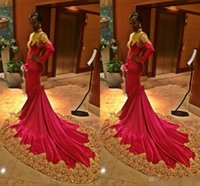 african laces - Long Sleeve Evening Dresses African Women Formal Gown With Mermaid High Neck Appliqued Lace Gold Red Satin Prom Pageant Party Gowns