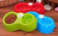 Wholesale 50pcs Hot Sale Dual Port Dog Automatic Water Dispenser Feeder Utensils Bowl Cat Drinking Fountain Food Dish Pet Bowl