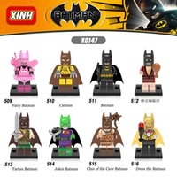 Wholesale DHL Sets Catman Fairy Tartan Pajamas Joker Dress The Batman Super Heroes Minifigures Building Blocks Toys Mini Figures X0147 FREE SHIP