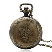 alice designs dresses - Lovely Pocket Watch Alice in Wonderland Cute Rabbit Design Fob Watches Women Ladies Girls Necklace Chain Gift Relogio De Bolso